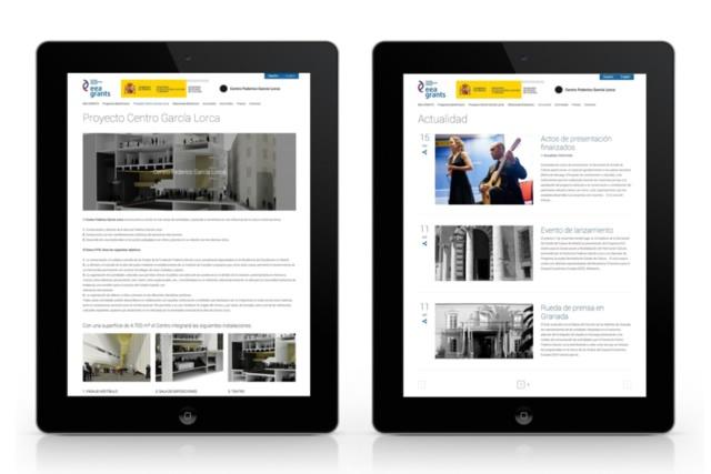 2 vistas de la web del centro Garcia lorca en tablet