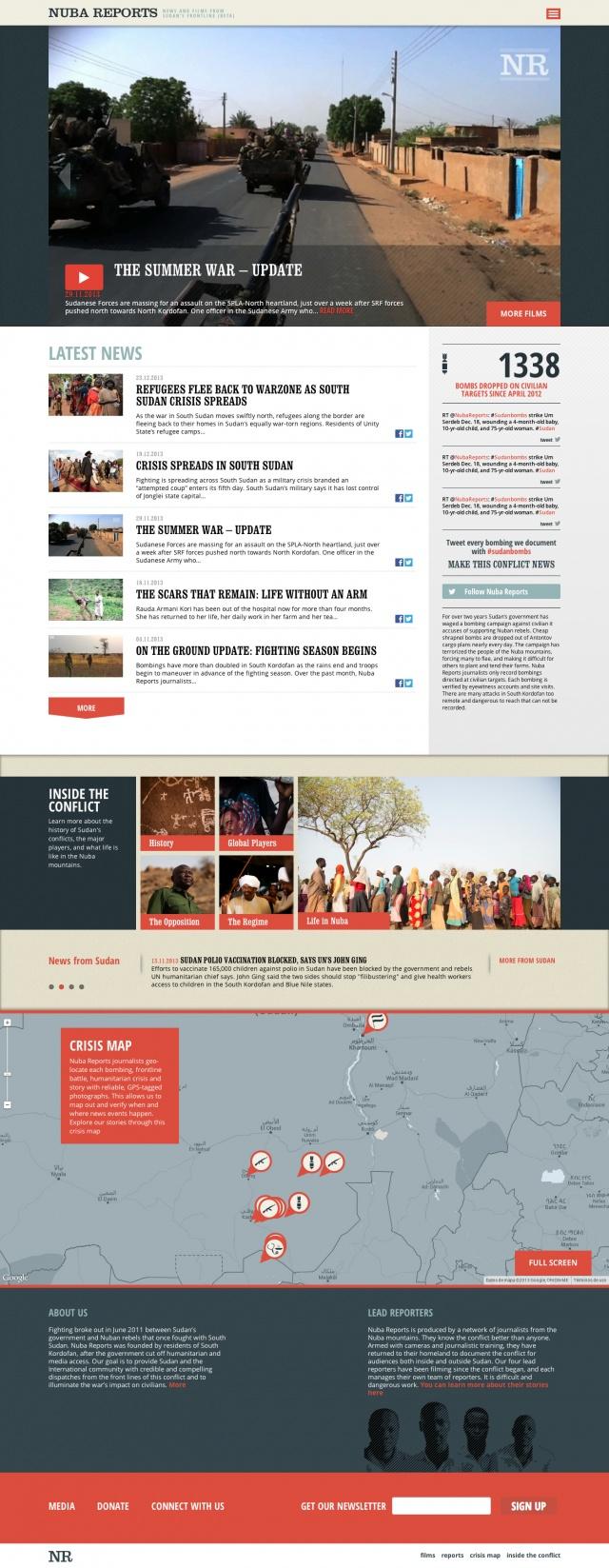 Inicio de la pagina web de nuba reports