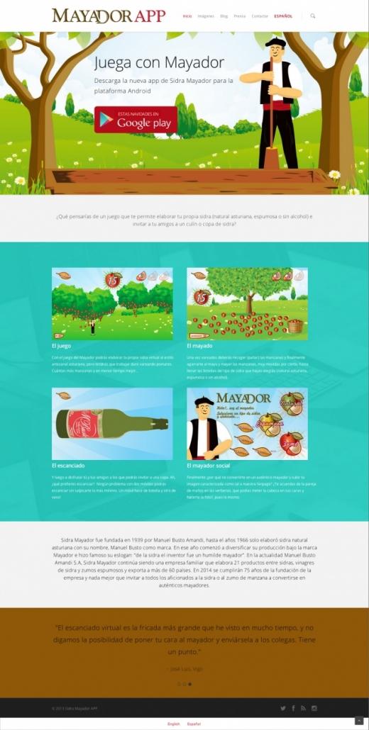 Inicio de la web sobre mayador app