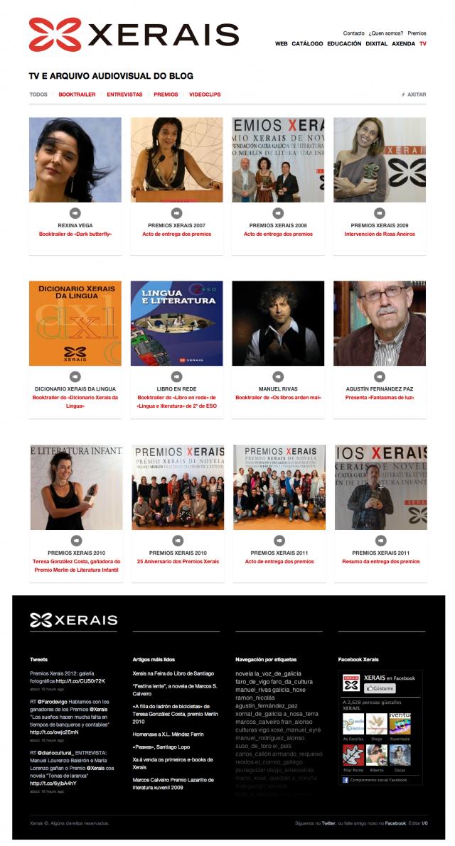 sección de la web de Edicions Xerais de Galicia