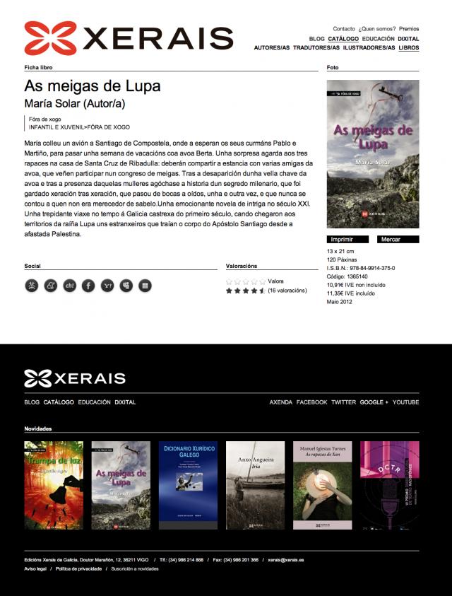 Detalle de un libro en la web de Edicions Xerais de Galicia