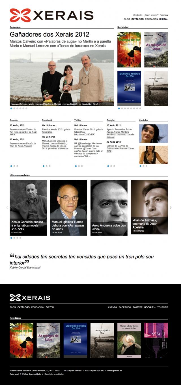 Inicio de la web de Edicions Xerais de Galicia