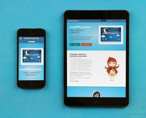 Ministura de la vista en movil y tablet de la pagina sobre la app creappcuentos