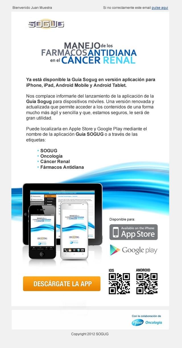 Indicativo de disponibilidad de la app en ios y android