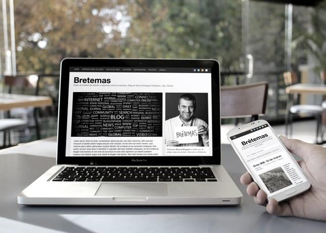 vista de la web bretemas en portatil y movil