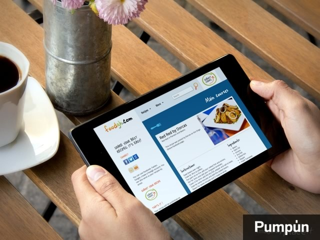 vista apaisada de la web foodgh en tablet