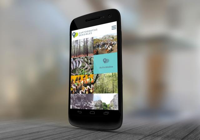 Inicio de la pagina web de la pagina cartografias sensibles en móvil