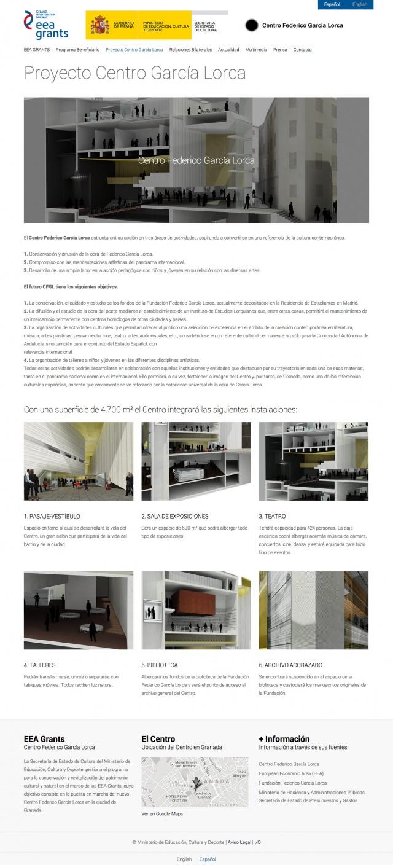 pagina de inicio de la web del Centro Garcia Lorca