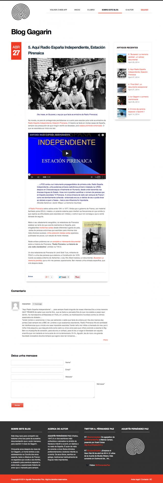 Sección blog Gagarin