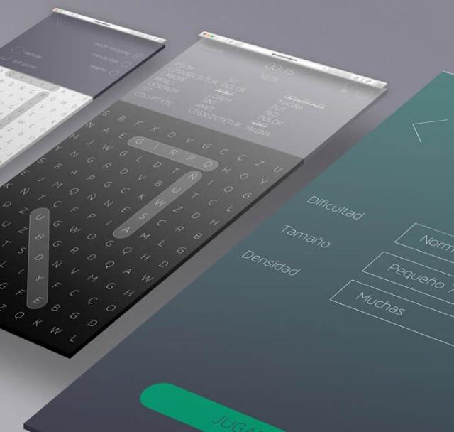 Vistas de la app sopa de letras