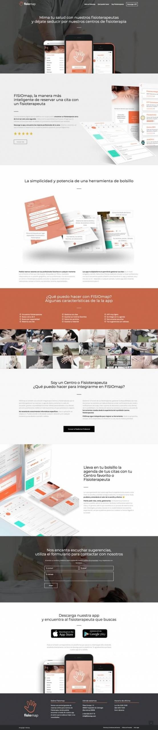 Pagina web de la app de fisiomap