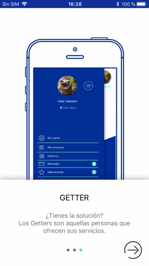 vista de la app inbox en móvil