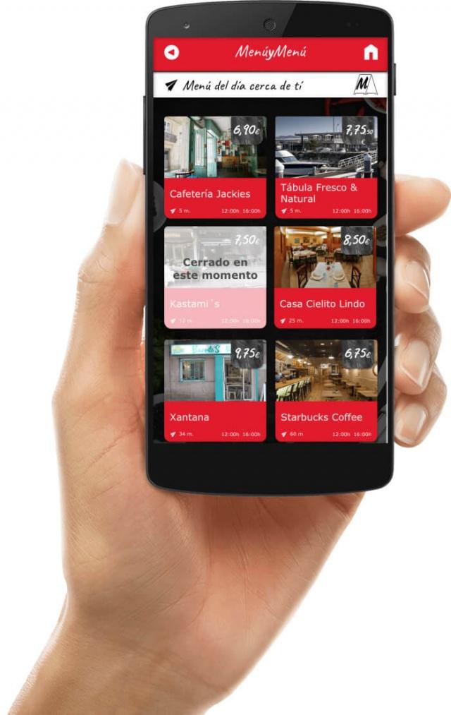 Vista del menu inicial de menumenu en movil