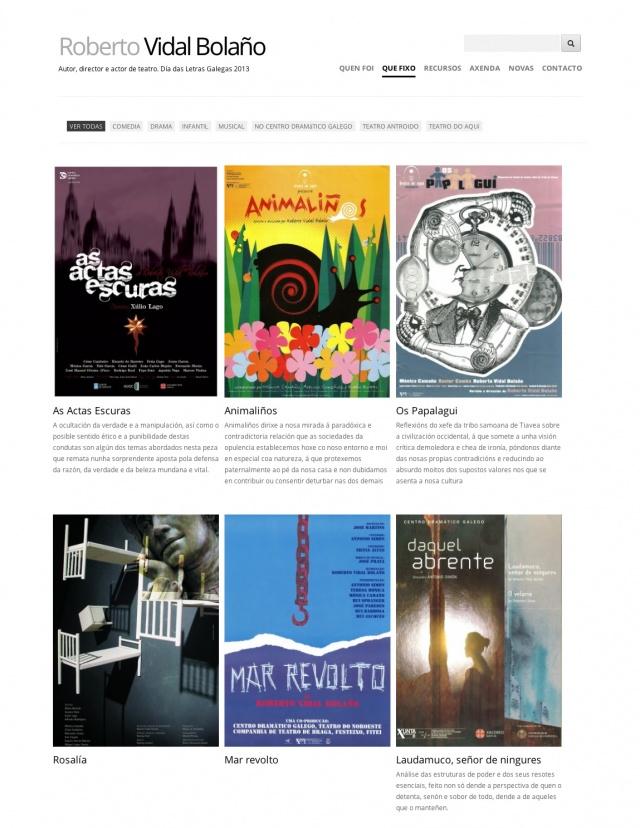 Seccioón de la web de Roberto Vidal Bolaño