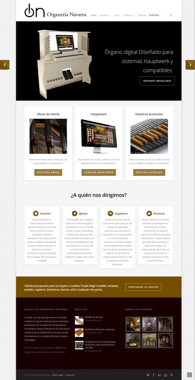 Inicio de la pagina web de la pagina Organos Navarra