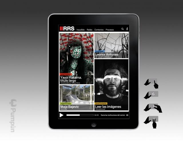 vista vertical de la aplicación del Reina Sofia en tablet