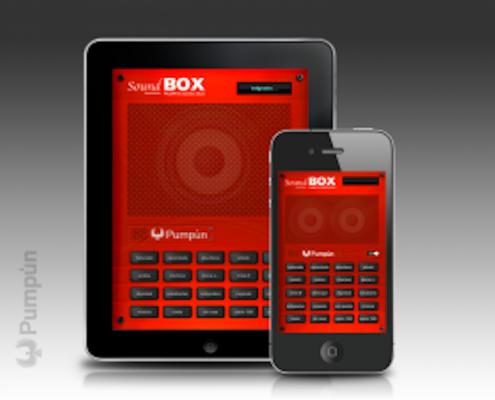 Miniatura de la vista de la app sound box en tablet y móvil