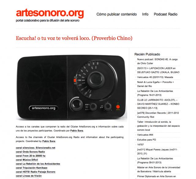 recorte de la web de arte sonoro