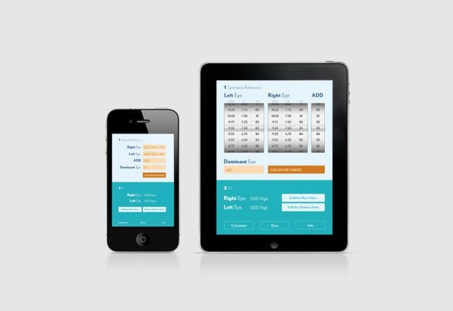 vista en tablet y móvil de la app Bausch