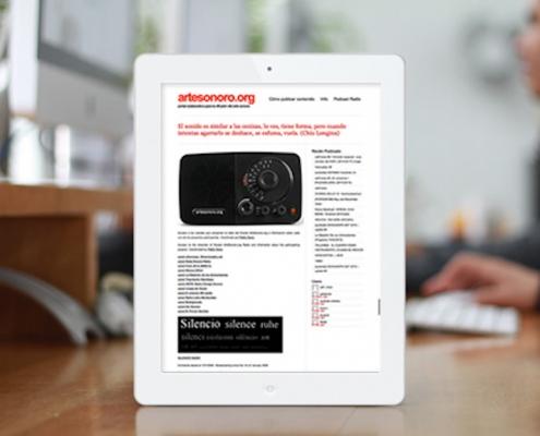 web de artesonoro en una tablet