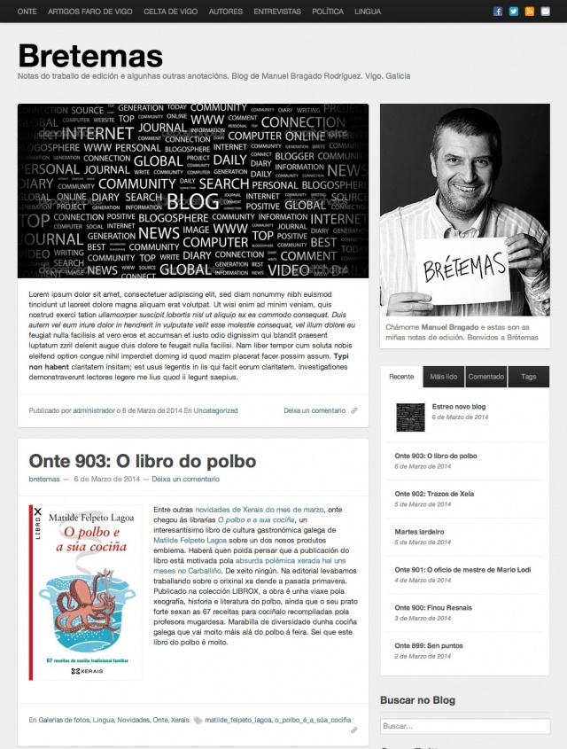 Inicio de la pagina web de Bretemas