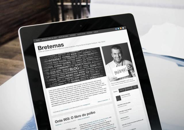 vista de la web bretemas en tablet