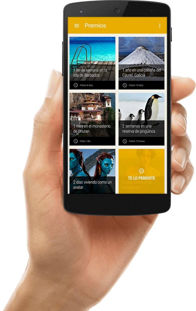 vista de la app Corre en móvil