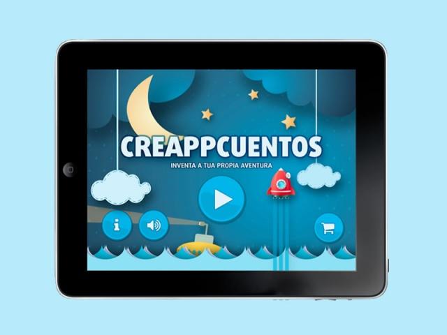Menu de inicio de la app creappcuentos visto en tablet