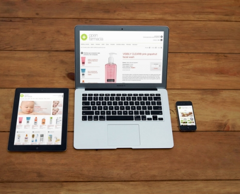 tres vistas de la tienda web farmasuite