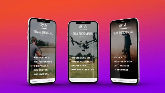 3 vistas en movil de la app ga