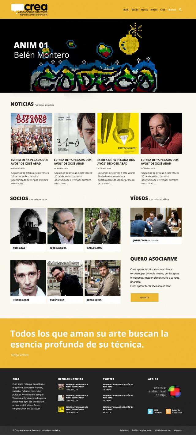 pagina de inicio de la web galiciacrea
