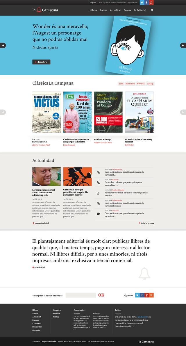 Pagina de inicio de la web de la campana editorial