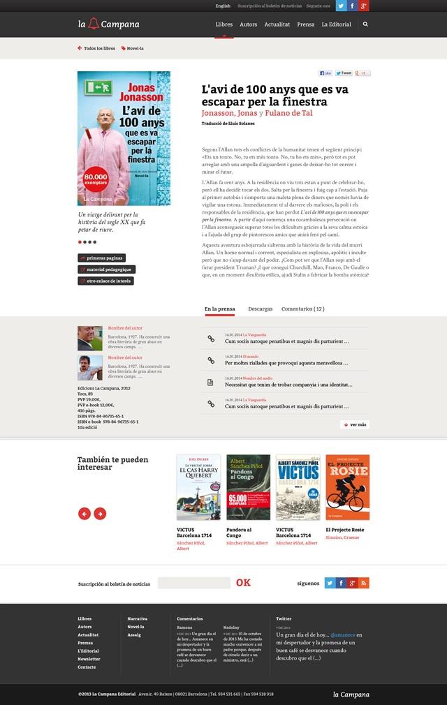 Sección de la web de la campana editorial