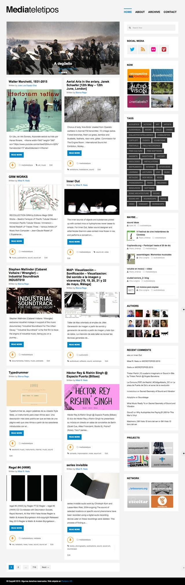 pagina de inicio de Mediateletipos