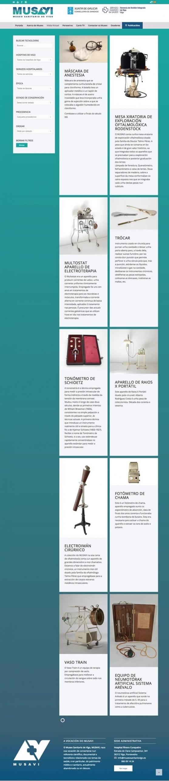Vista de la pagina inicial de musavi