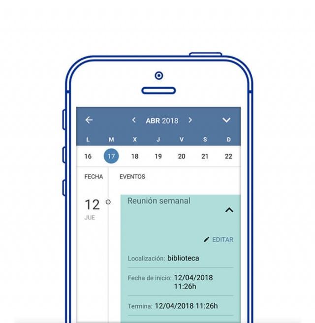 Vista en movil de la app opos site