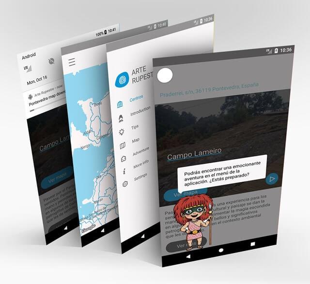 3 vistas de la app Petra arte rural