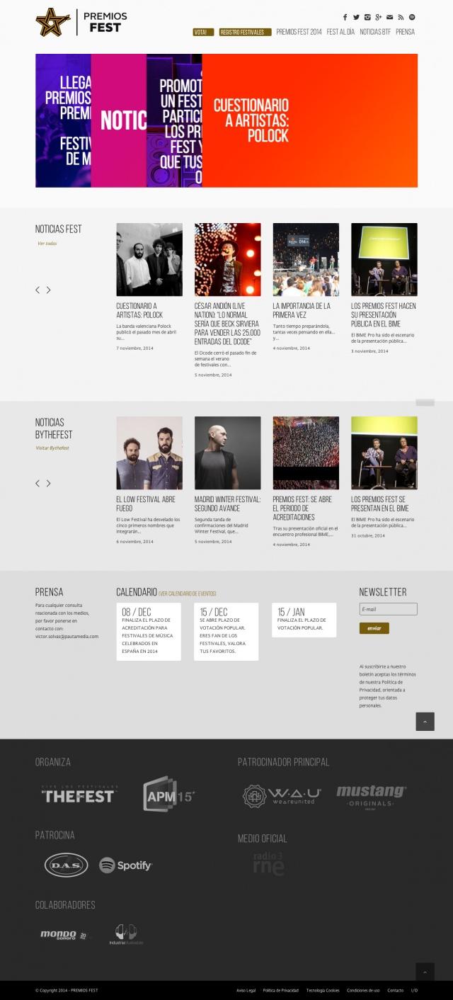 pagina de incio de premios fest