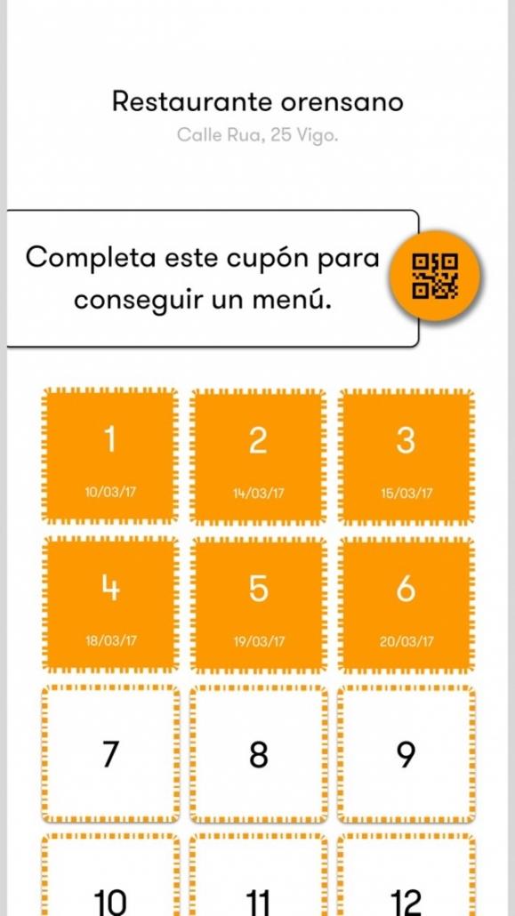 Cupones de un restaurante en la app Quiero menu
