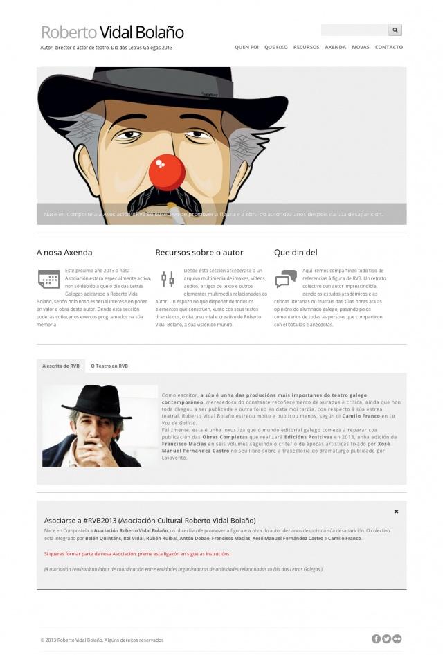 Inicio de la pagina web de Roberto vidal Bolaño