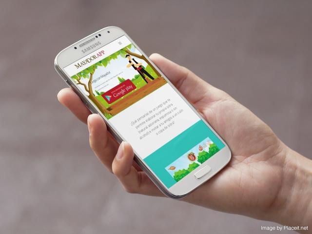 web de Mayador app vista en movil