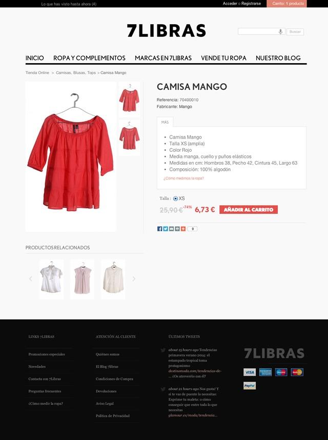 Vista de un producto en la web de 7 libras
