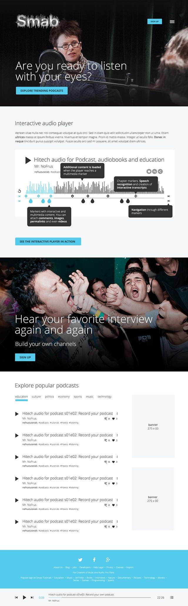 pagina inicial de smab podcaster audio tools