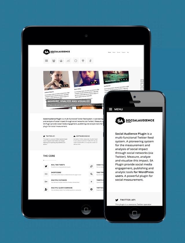 vista tablet y movil de la web de social audience plugin