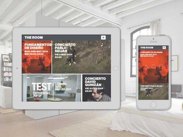 Vista tablet y movil de la web de The room