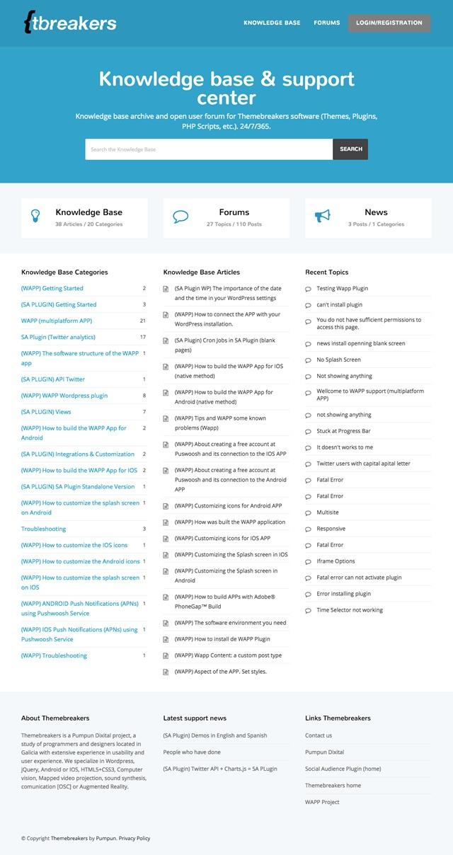 Sección de la pagina de theme breackers