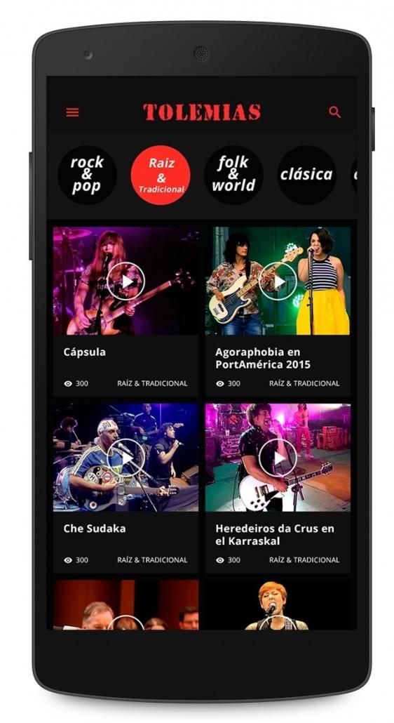 Vista de la app tolemias en un móvil
