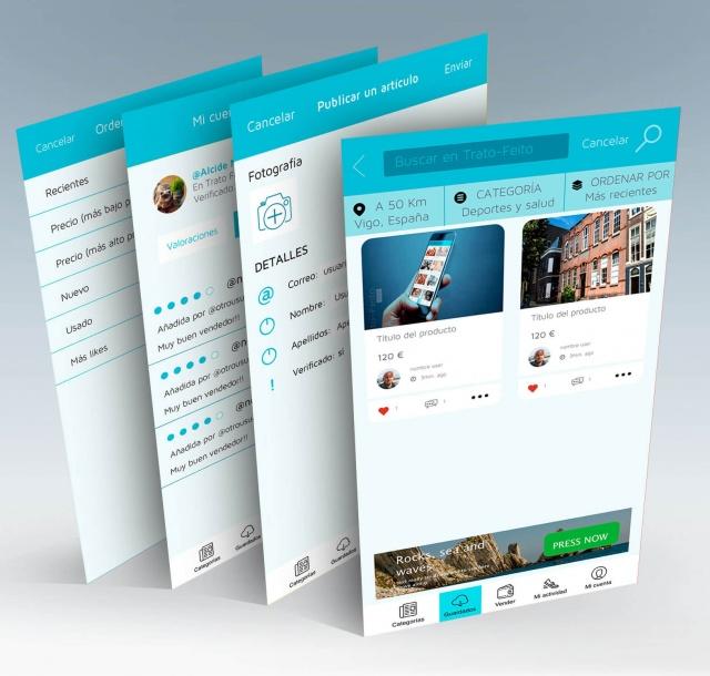 4 vistas de la app trato feito