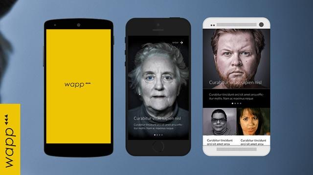 3 vistas en movil de la app Wapp