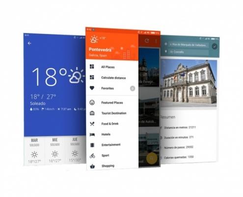 tres pantallas de ejemplo